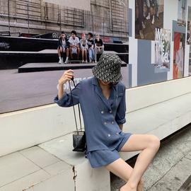 ASM ANNA◆软糯套装两件套松紧腰阔腿短裤+廓形西装外套女夏薄款图片
