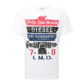 Diesel 白色字母印花短袖T恤