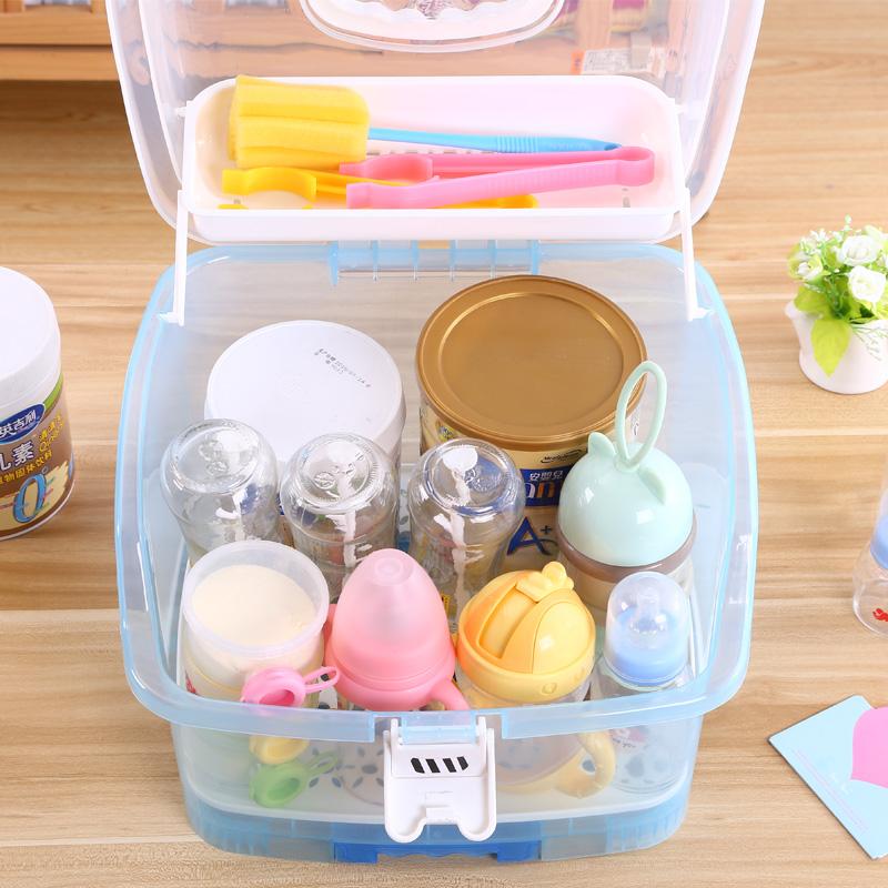 婴儿奶瓶收纳箱大号便携式带盖防尘抗菌沥水晾干架宝宝奶粉储存盒