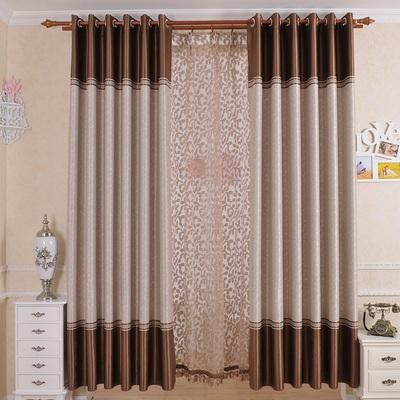纯色简约现代欧式窗帘成品卧室飘窗遮光窗帘布客厅落地窗纱平面窗