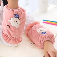 小熊刺绣绒布袖套女学生办公秋冬短款套袖宝宝成人家务防污护袖头