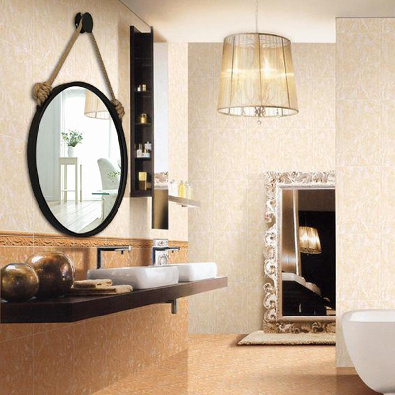 包邮欧式铁艺壁挂浴室镜子卫生间圆形化妆镜麻绳挂镜创意镜壁挂镜