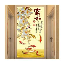 现代中式3d玄关墙纸客厅背景墙壁纸走廊过道8d壁画竖版5d无缝墙布