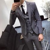 韩国西服男士商务休闲西装三件套韩版修身新郎伴郎结婚礼服套装潮
