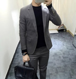 Korean new fashion Europe and the United Kingdom British suit suit with trousers Men's slim two-piece suit