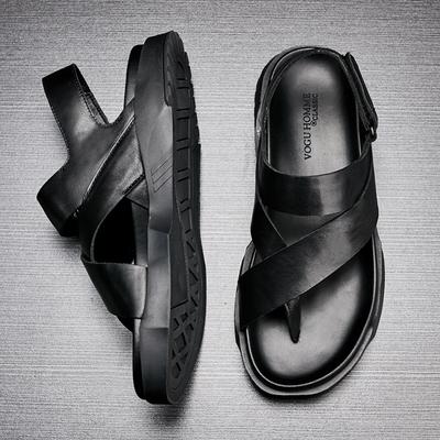 2018夏季英伦潮流个性凉鞋男露趾罗马鞋休闲透气防滑真皮厚底凉鞋