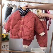 宝宝棉衣套装女1-3岁婴幼儿冬装丝绵棉袄男童小童棉服加厚棉袄潮0