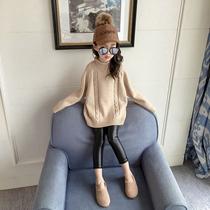 女童中大童半高领毛衣2018秋冬季中长款宽松加厚套头打底编织衫