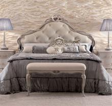 定制 欧式法式新古典软包婚房1.8床卧室床布艺床实木床拉扣双人床