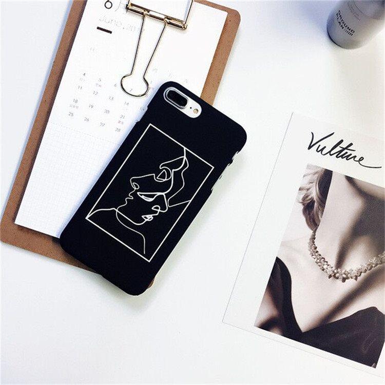 欧美风艺术线条人iPhone6S手机壳苹果7Plus磨砂5SE简约情侣黑色硬