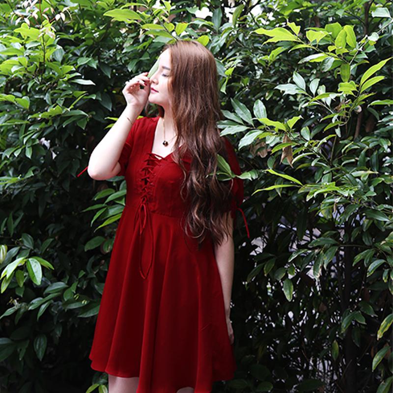 夏新款大码女装胖mm修身显瘦v领绑带灯笼袖大摆雪纺短款连衣裙