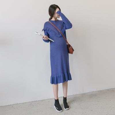 孕妇装2018秋冬季新款韩版气质修身荷叶边圆领长款针织孕妇连衣裙