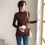 Pregnant women dress spring and autumn top fashion hundred hit bottom shirt simple solid color elastic slim body show thin pregnant women knit sweater
