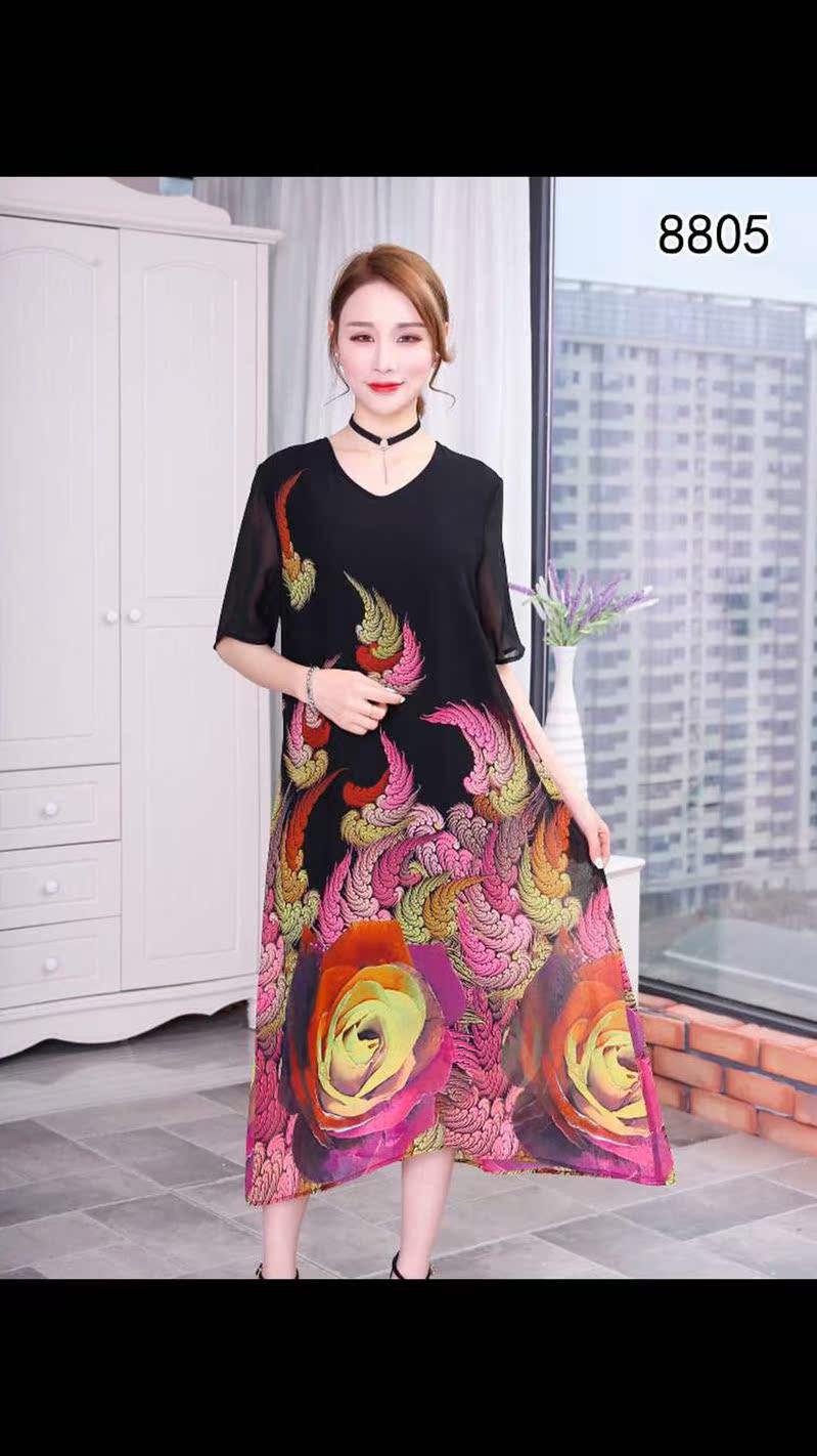 妈妈装【英镓琦】58805夏季优雅复古印花天丝配真丝气质连衣裙