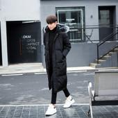 大毛领外套反季清仓 过膝加厚宽松青年大码 韩版 冬季羽绒服男中长款图片