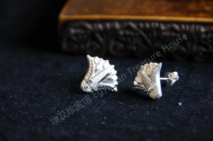 无货 已售孤品 古埃及圣莲花纯手工 银耳钉 埃及银饰 埃及特产
