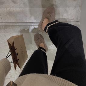 小玉酱 坠感阔腿裤女秋冬直筒奶奶裤网红裤子女宽松针织裤长裤潮