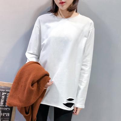 2018秋冬新款白色长袖T恤下摆破洞加绒打底衫宽松中长款上衣女潮
