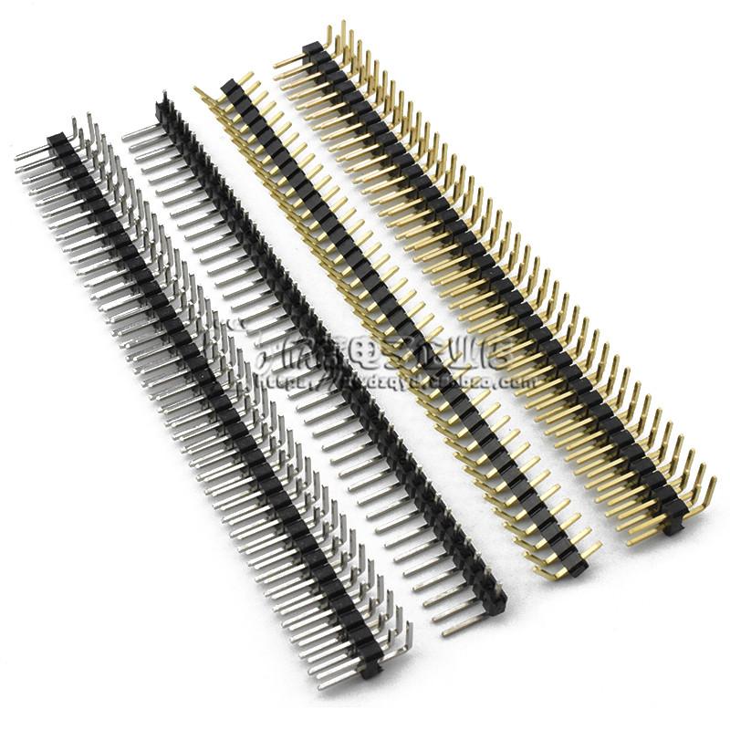 间距2.54MM 镀金 单排 双排插针 单/双排针 1*40P 2*40P 弯针铜针