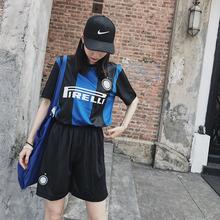 嘻哈韩版 套装 印数字 班服团体套装 包邮 男女可穿 出口足球服套装