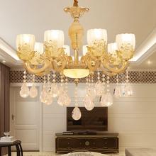15头奢华欧式led水晶蜡烛客厅卧室餐S金玻璃玉石6头8头壁灯吊灯具