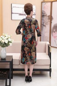 中老年女装真丝香云纱连衣裙妈妈装夏装大码宽松中长款裙子40岁50