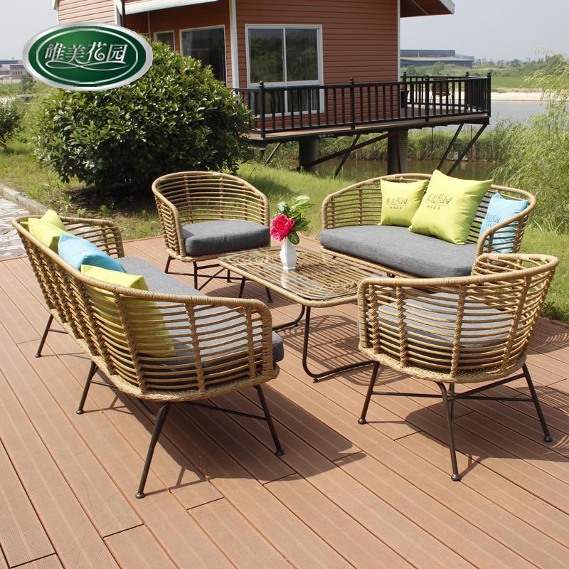 户外沙发藤编沙发创意阳台吊椅藤椅沙发室外庭院酒店藤制沙发组合