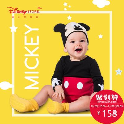 迪士尼商店 米奇米妮造型婴儿宝宝全棉连体衣爬服帽子发箍套装