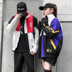 春秋棒球服男韩版运动嘻哈撞色外套班服学生潮流宽松情侣装夹克