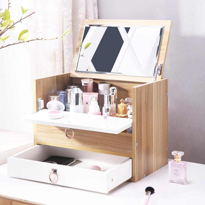 大号木制化妆品收纳盒桌面带镜子抽屉式置物架梳妆台化妆盒家用