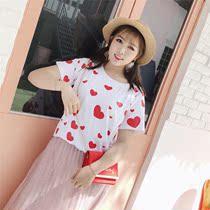韩版胖mm圆领短袖小清新爱心印花T恤学生休闲上衣200斤加大码女装
