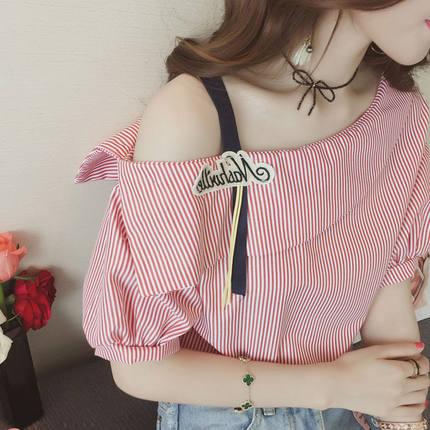 2019夏季韩版女装学院风甜美宽松露肩衬衣单肩吊带上衣短袖衬衫女
