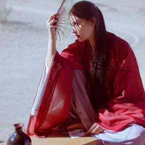 红颜魏晋风交领齐腰襦裙 传统汉服女 夏雪纺大袖衫套装非古装改良
