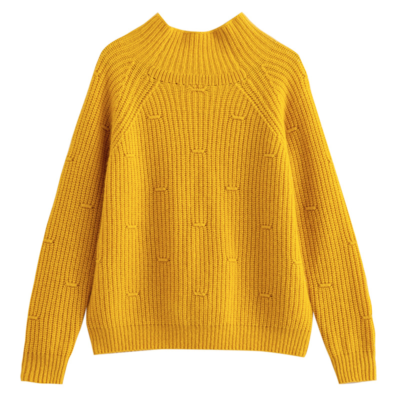 茵曼童装2019秋冬款短款简约羊绒衫女童宽松保暖高领套头羊毛毛衣