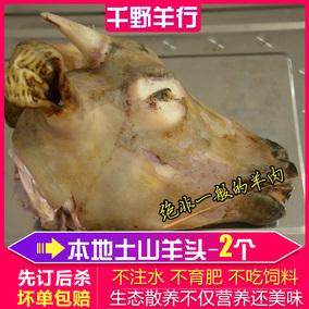山羊头新鲜带皮羊头羊脑羊脸羊头整3斤左右88元2个羊头千野羊行