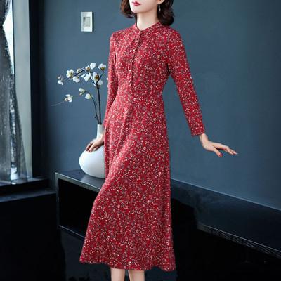 欧洲站春季新款长袖连衣裙修身红色碎花收腰遮小肚子气质大摆长裙