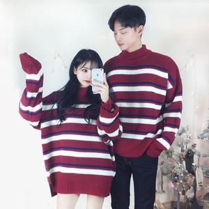 2017冬季新款韩版情侣装学生撞色条纹针织毛衫半高领休闲宽松毛衣