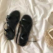 冬季ins潮先生罗马鞋 平底凉鞋 女仙女风2019新款 穿插绑带百搭繁复