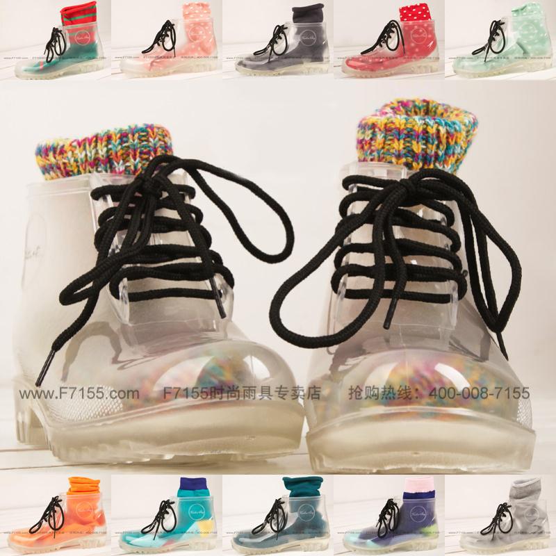 新款可爱日系时尚韩版休闲女士透明雨鞋雨靴水鞋彩虹袜欧美民族风1元优惠券