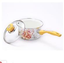 18厘米搪瓷奶鍋 加厚平底小湯鍋電磁爐泡面鍋 韓式單柄琺瑯奶鍋