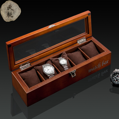 夭桃高檔木質手表盒子五只裝天窗手表展示盒首飾盒手鏈收藏收納盒口碑如何