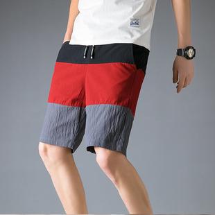 官方网店铺以纯男装 夏季宽松纯棉5分短裤 大码 休闲运动沙滩裤 男士