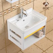 大理石台面小户型洗漱台浴室柜组合卫生间洗脸盆池挂墙式洗手池