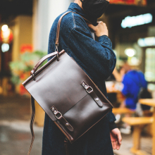 Hand-made retro men's and women's backpacks leather double shoulder backpack head cowhide large capacity backpack women's travel bag literature and art women's bag