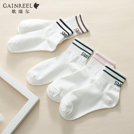 歌瑞尔新款舒适甜美条纹时尚混搭女士短袜组合【5双装】19017FT商品大图