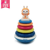 Mi Bao Rabbit Jenga Rainbow Circle Tower 6-10 Months Baby Puzzle Music 0-1 Years Old Baby Ring Toy