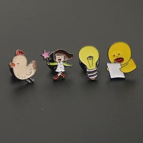 韩版可爱胸针胸扣领扣别针日系动漫卡通学生饰品小鸭子电灯泡小鸡