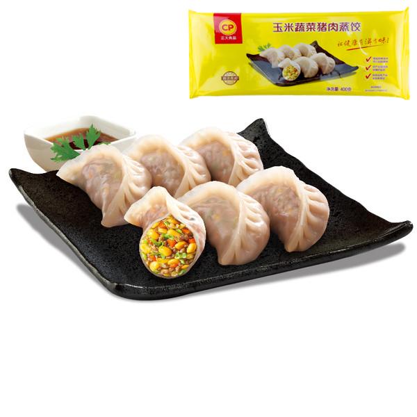 正大玉米蔬菜猪肉蒸饺煎饺儿童饺子水饺速食速冻早餐食品商用整箱