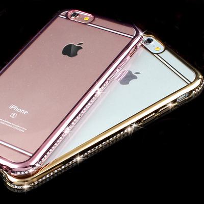 iphone6plus手机壳苹果i7水钻保护套6s镶钻石电镀X软壳8P防摔潮女