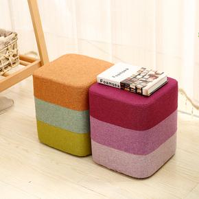 创意矮凳布艺彩虹圆凳子换鞋凳现代沙发凳客厅床尾化妆凳小坐墩